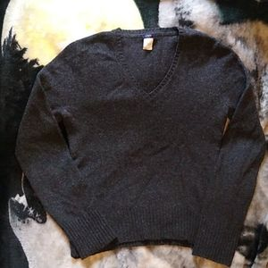 J. Crew Lambswool Charcoal V Neck Sweater